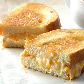 Grilled Cheese with Mayo Hack - grilled cheese on plate