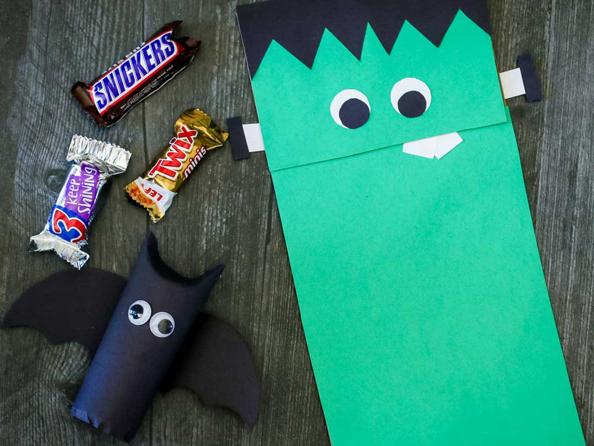 Easy halloween crafts for kids - Frankenstein's Puppet