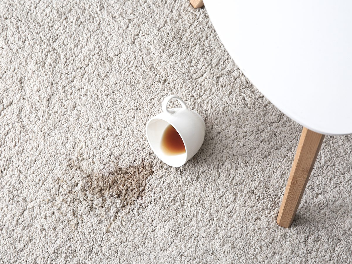 Magic Eraser uses - coffee stain on carpet