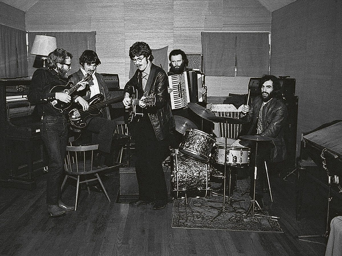 Robbie Robertson and members of the Band jam at the fabled Big Pink studio