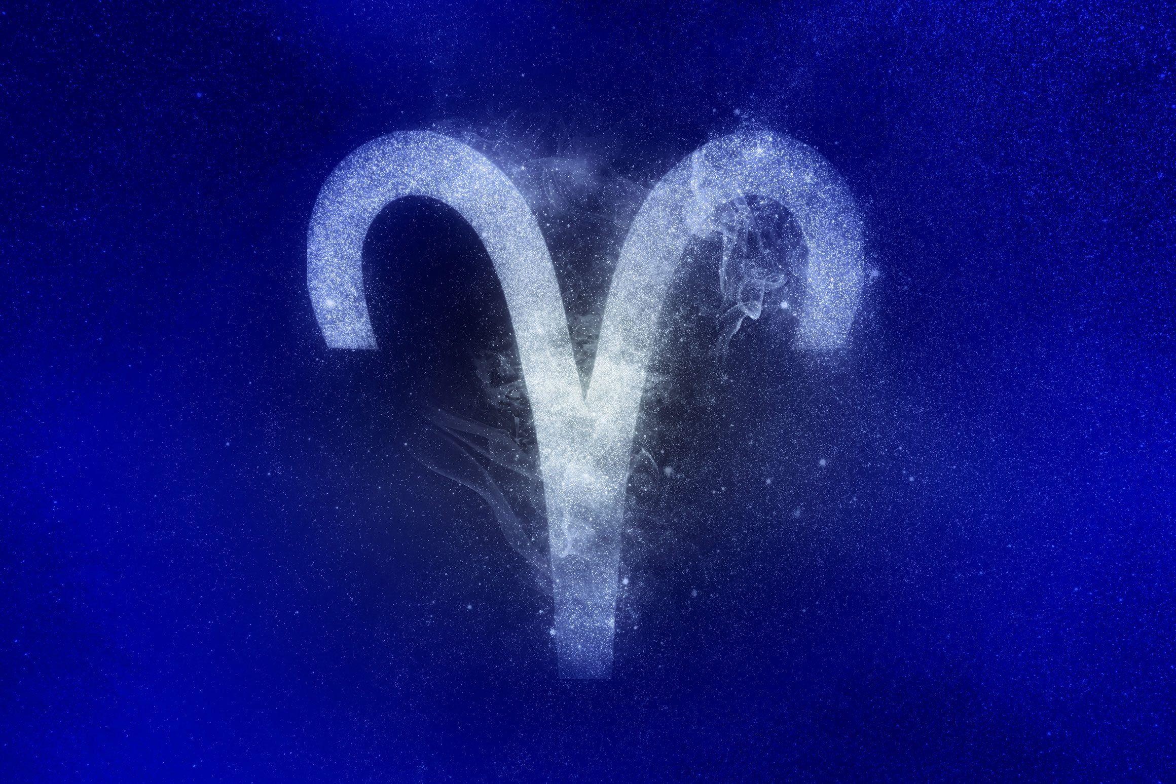 aries zodiac symbol in winter colors
