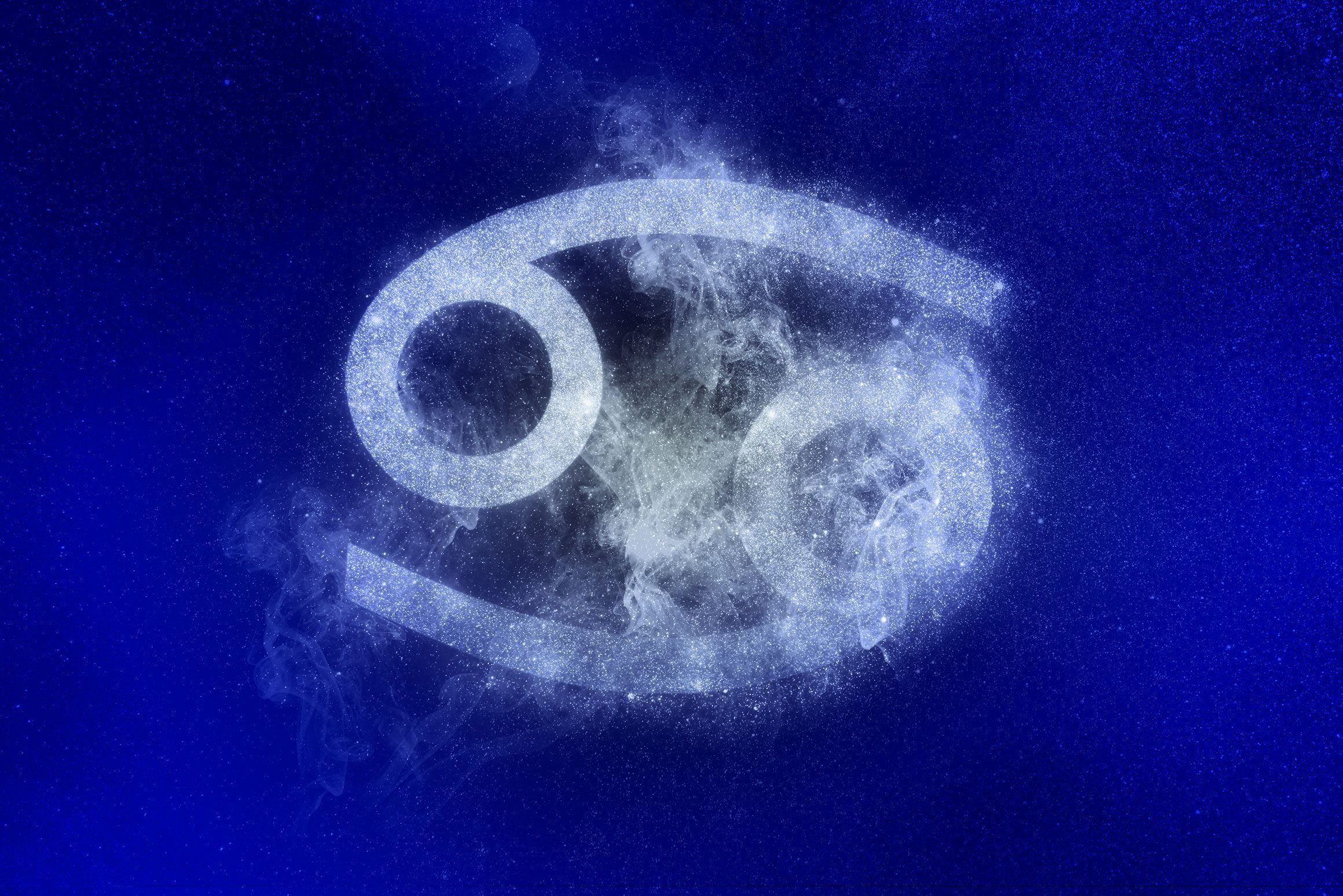 cancer zodiac symbol in winter colors