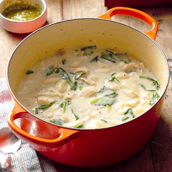 Chicken Gnocchi Pesto Soup