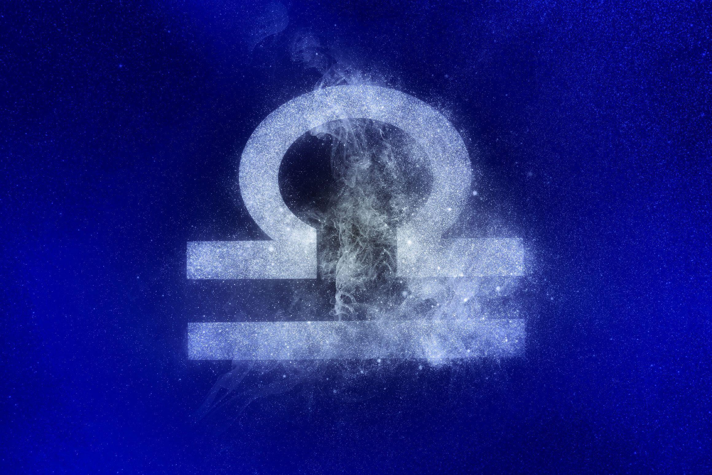 libra zodiac symbol in winter colors