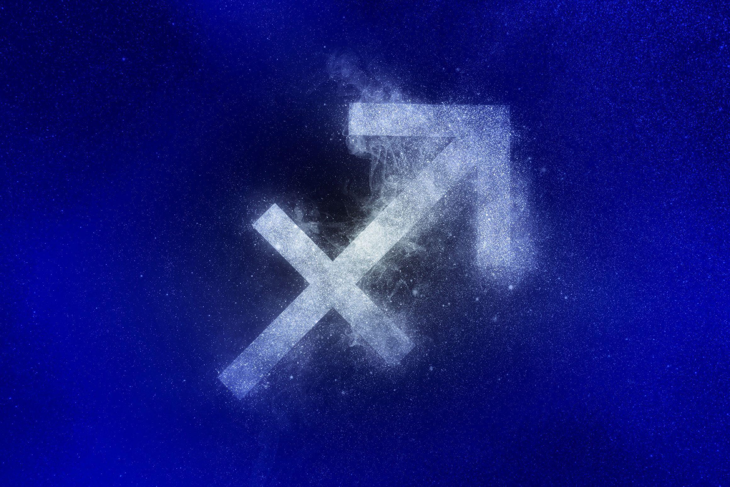 sagittarius zodiac symbol in winter colors