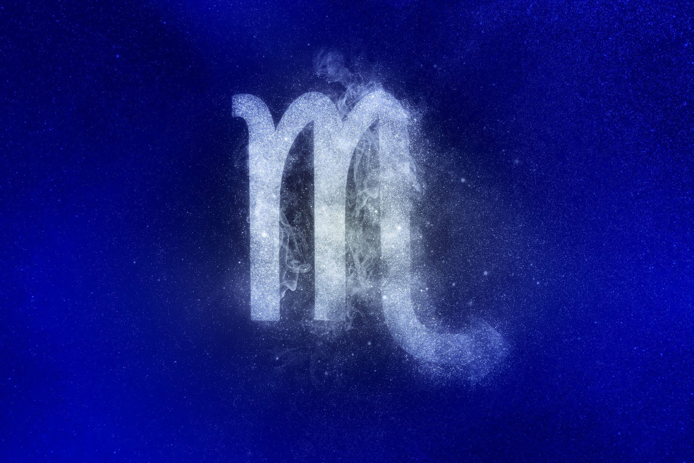scorpio zodiac symbol in winter colors