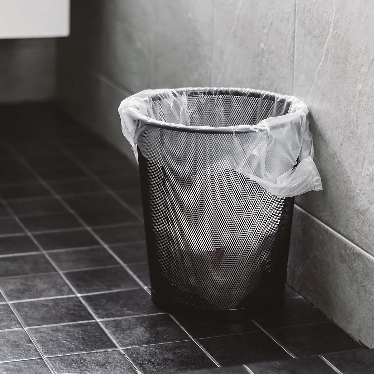 trash bin in the toilet