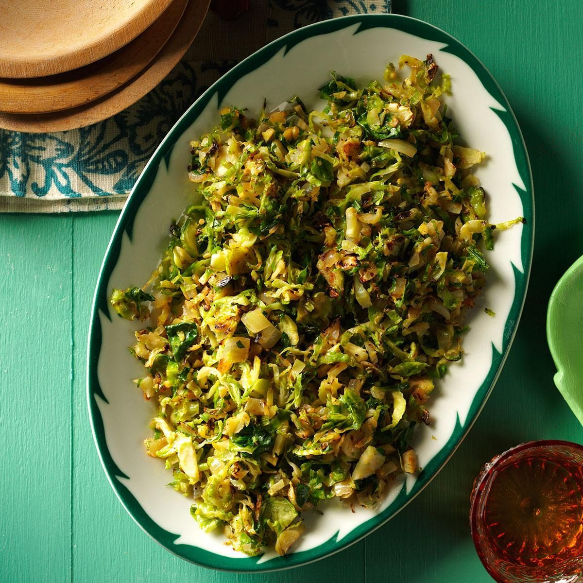 shredded gingered brussels sprouts
