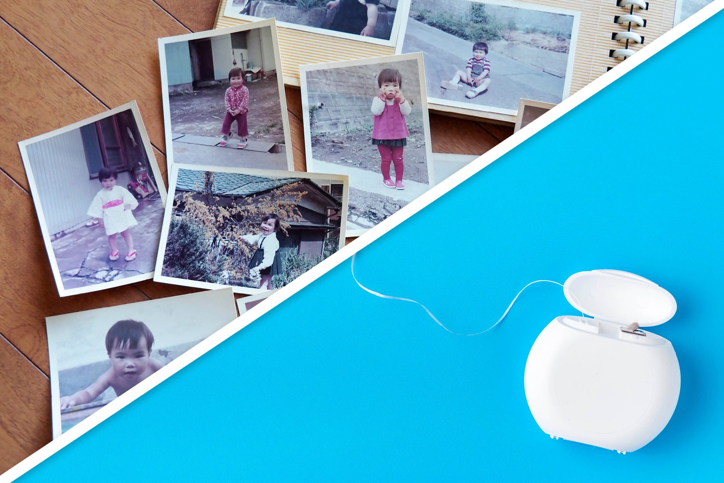 Family photo album and floss