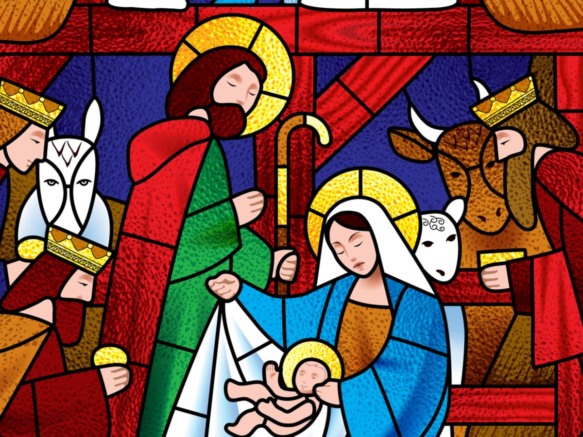 Nativity scene stained glass concept