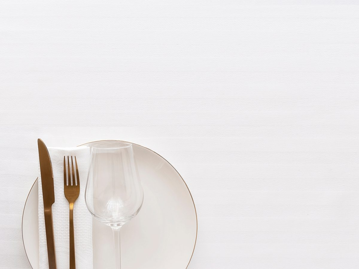 How to lose weight without exercise - white tablecloth and table setting