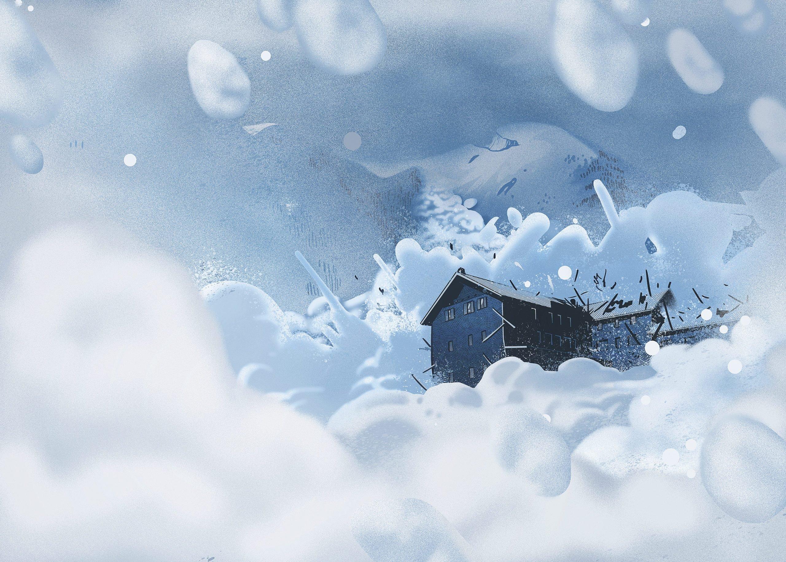 Illustration of the Rigopiano avalanche