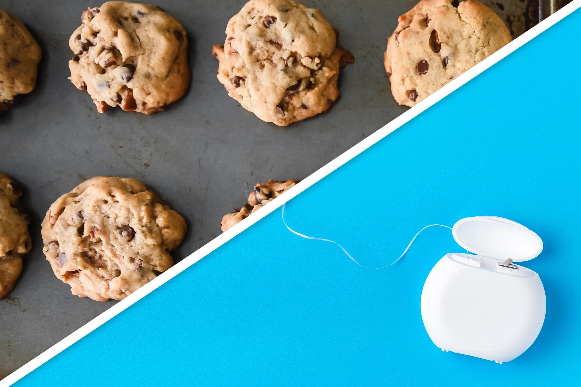 cookies on baking sheet and floss