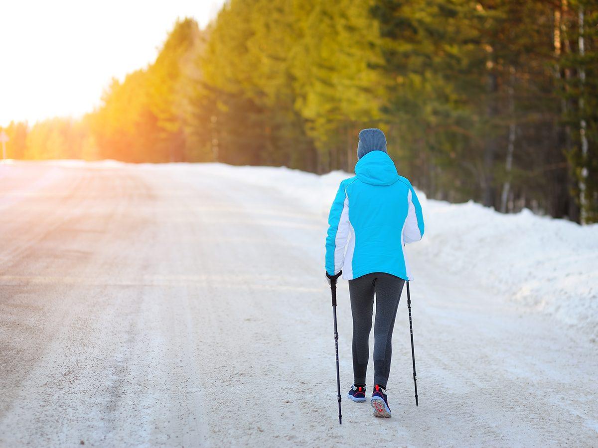 Walking mistakes - Woman walking in winter