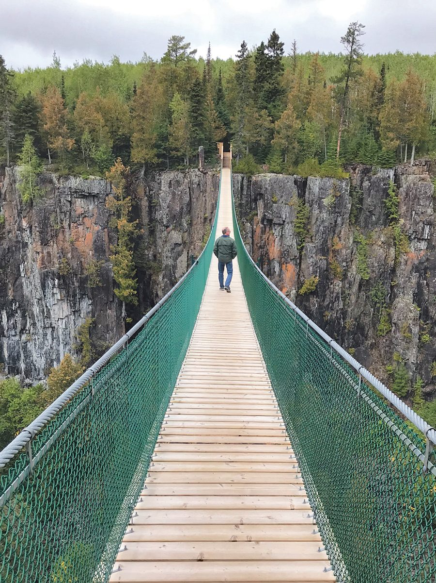 A suspension bridge near Thunder Bay