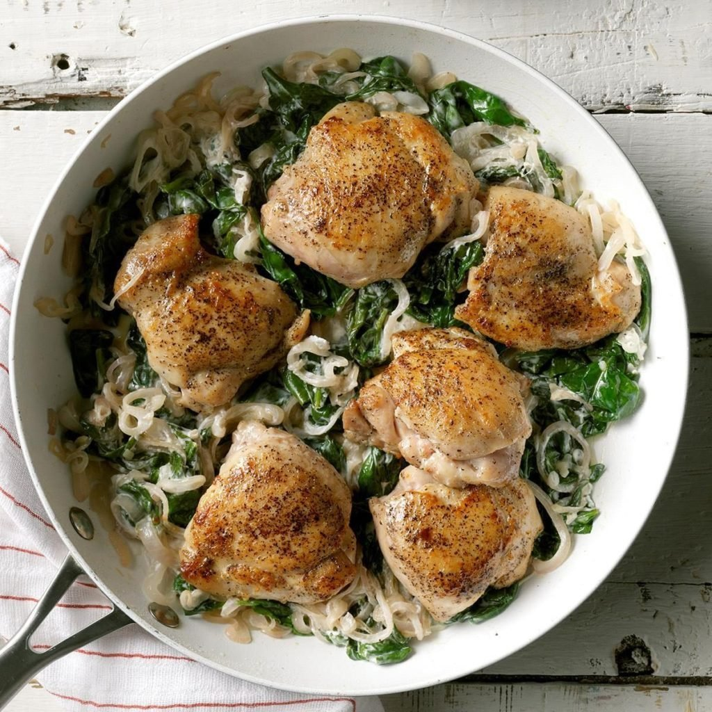 Chicken Thighs with Shallots and Spinach