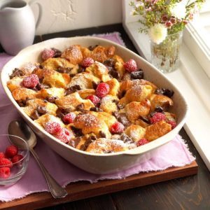 Dark Chocolate Croissant Bread Pudding