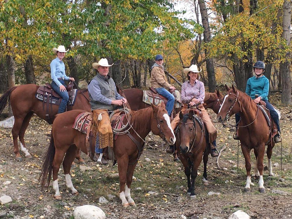 Beef farmers on horseback