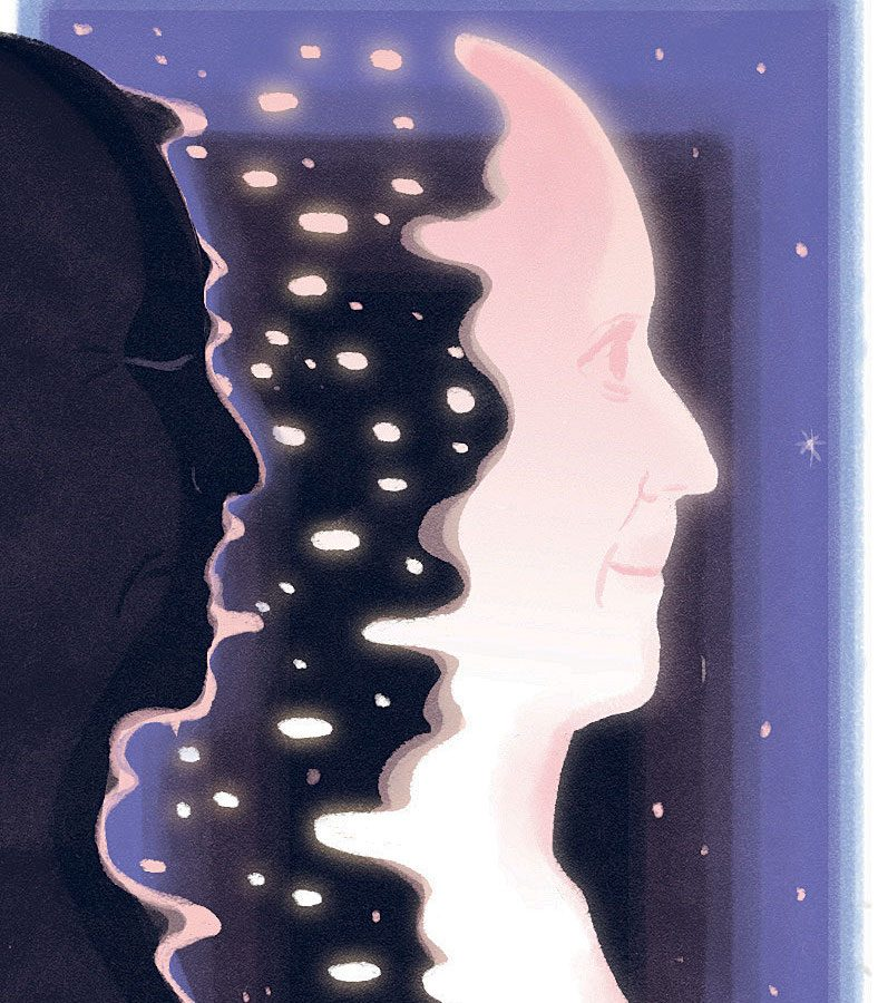 An illustration of a face transforming into starlight.