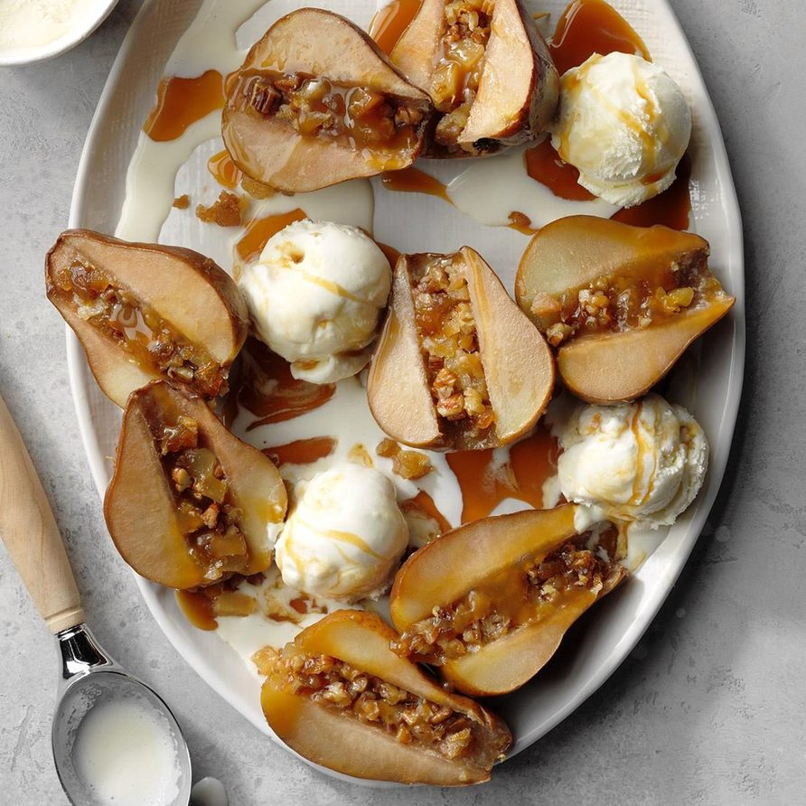 Slow-Cooked Gingered Pears