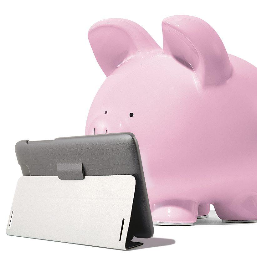 Piggy bank reading tablet
