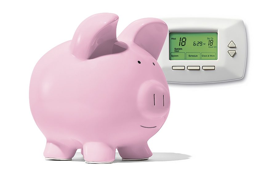 Piggy bank with thermostat