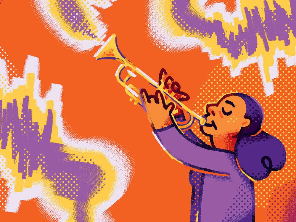 Illustration of an adult woman playing the trumpet.