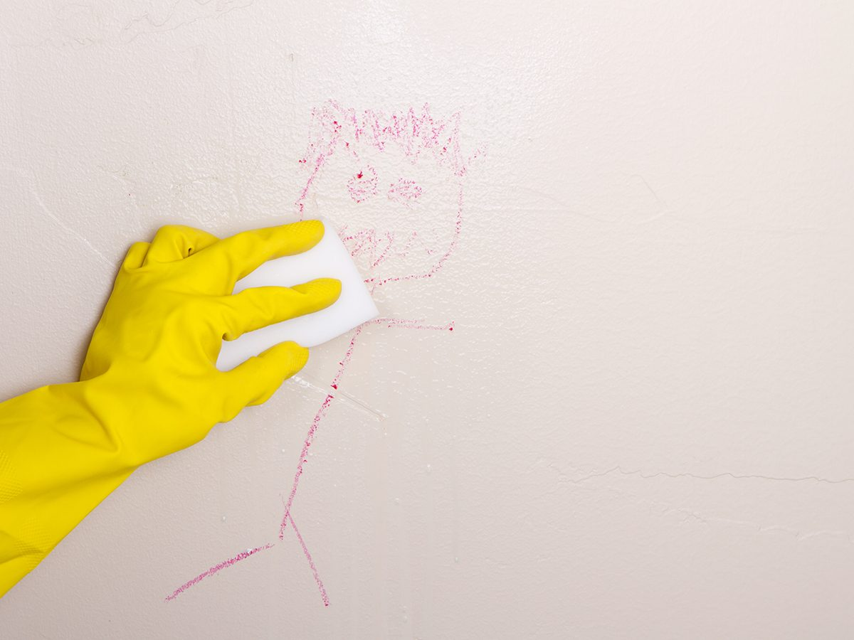 Never use a Magic Eraser to clean these things - Magic Eraser scrubbing drawing on wall