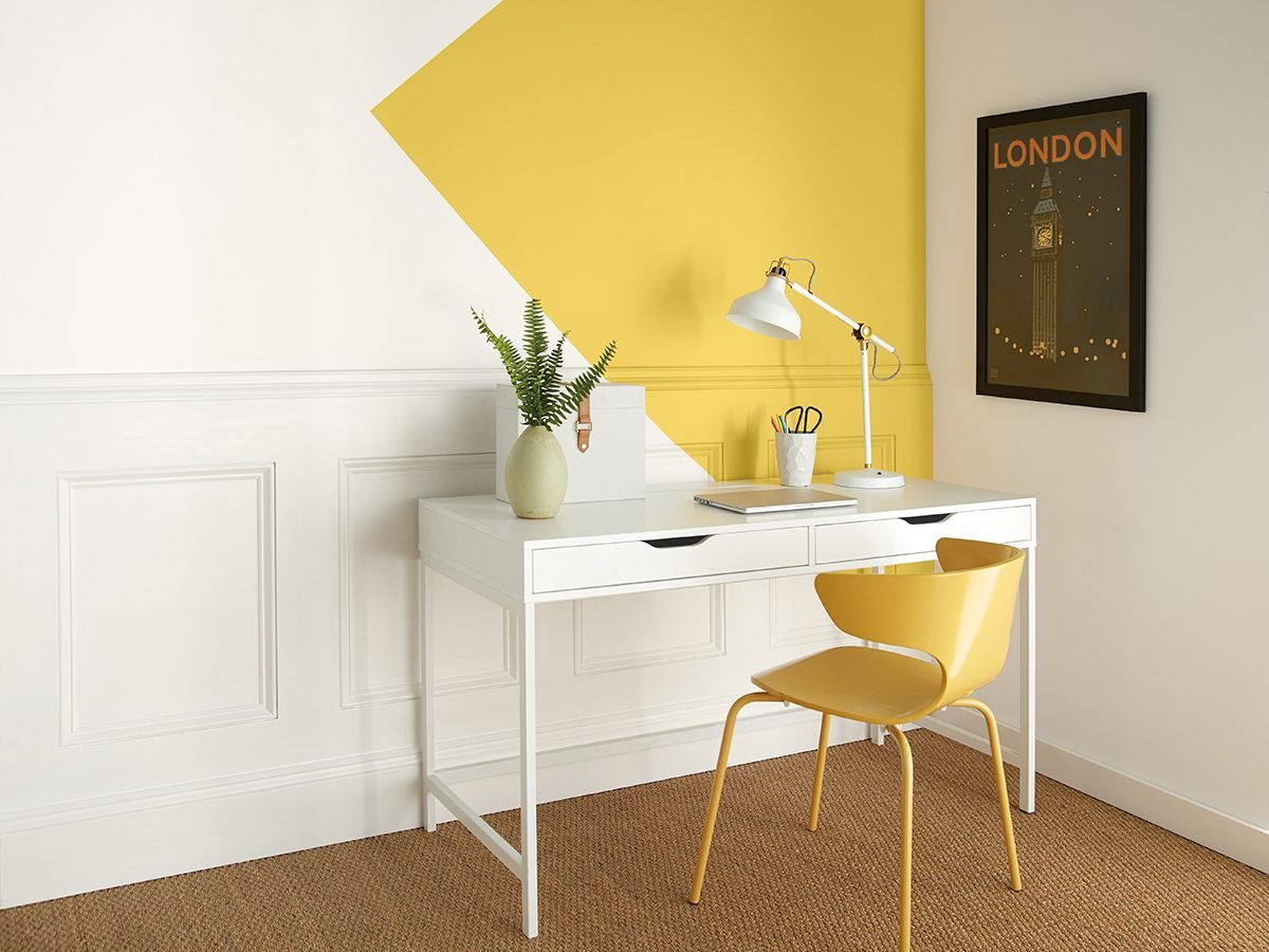Behr yellow paint accent in office