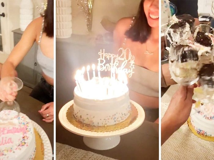 Screenshots from a TikTok video demonstrating how to cut a cake with wine glasses.
