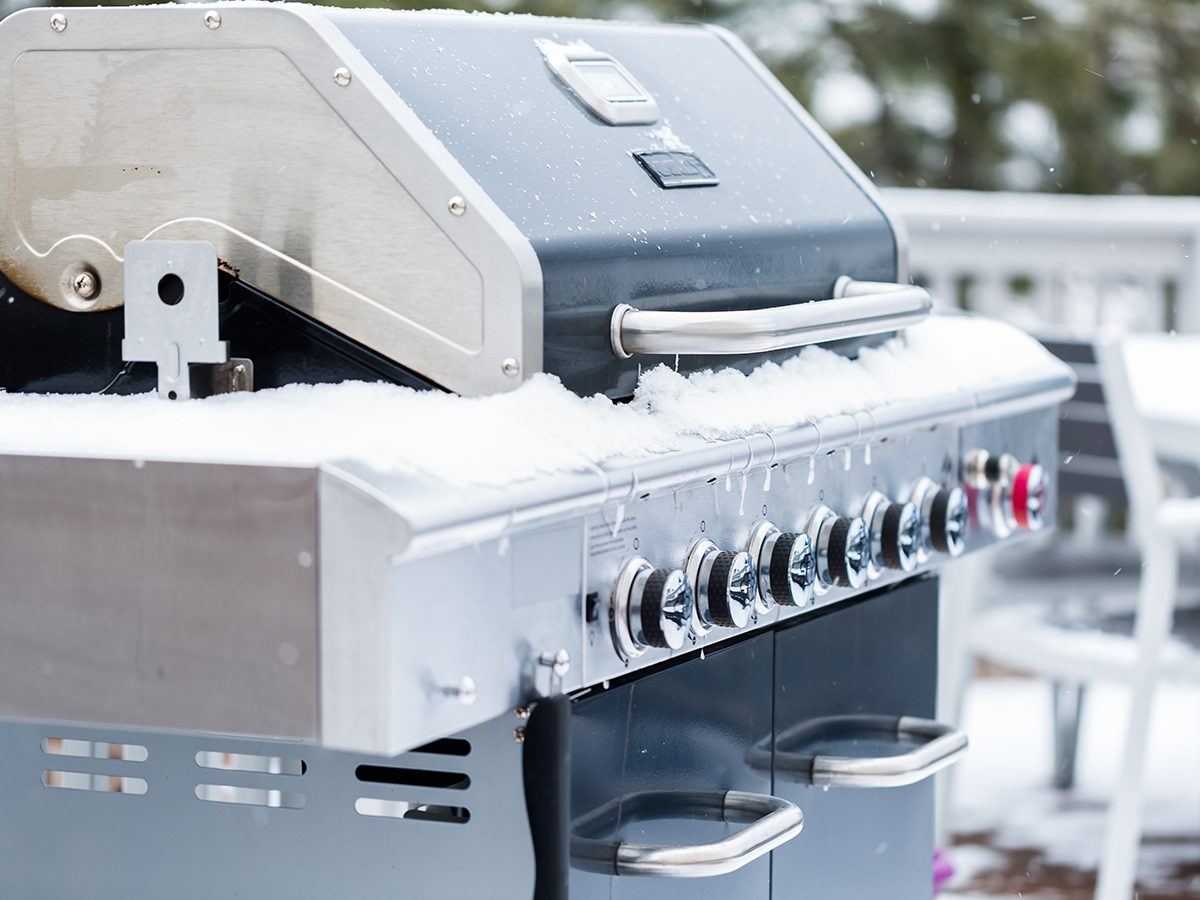 Winter grilling - BBQ in snow and ice