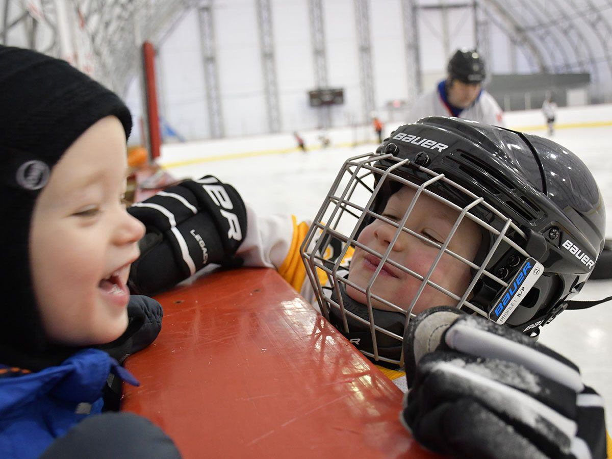 Brothers at hockey practice