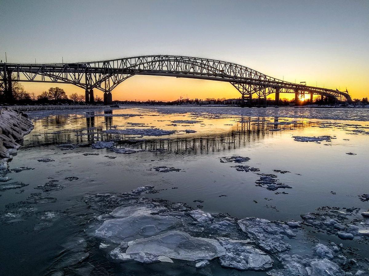 Bridge at sunset in Sarnia