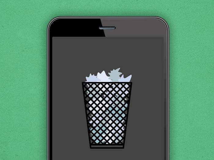 Illustration of wastepaper basket on phone screen