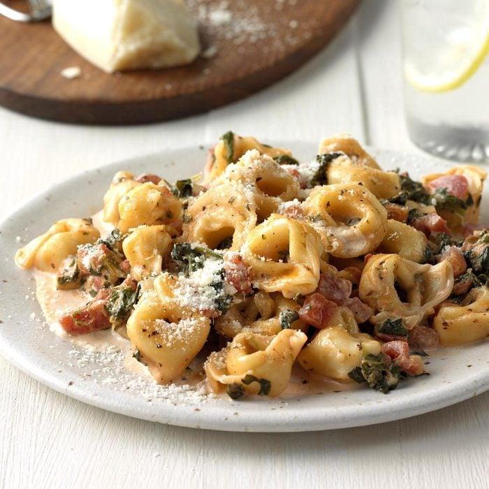 Day 12: Tortellini with Tomato Spinach Cream Sauce