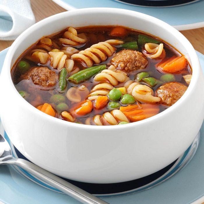 Veggie Meatball Soup For 3