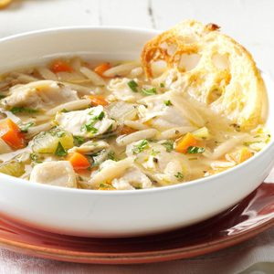 Mediterranean Chicken Orzo Soup