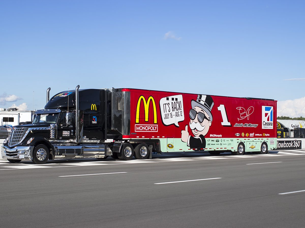 Truck with ad for Monopoly Mcdonalds