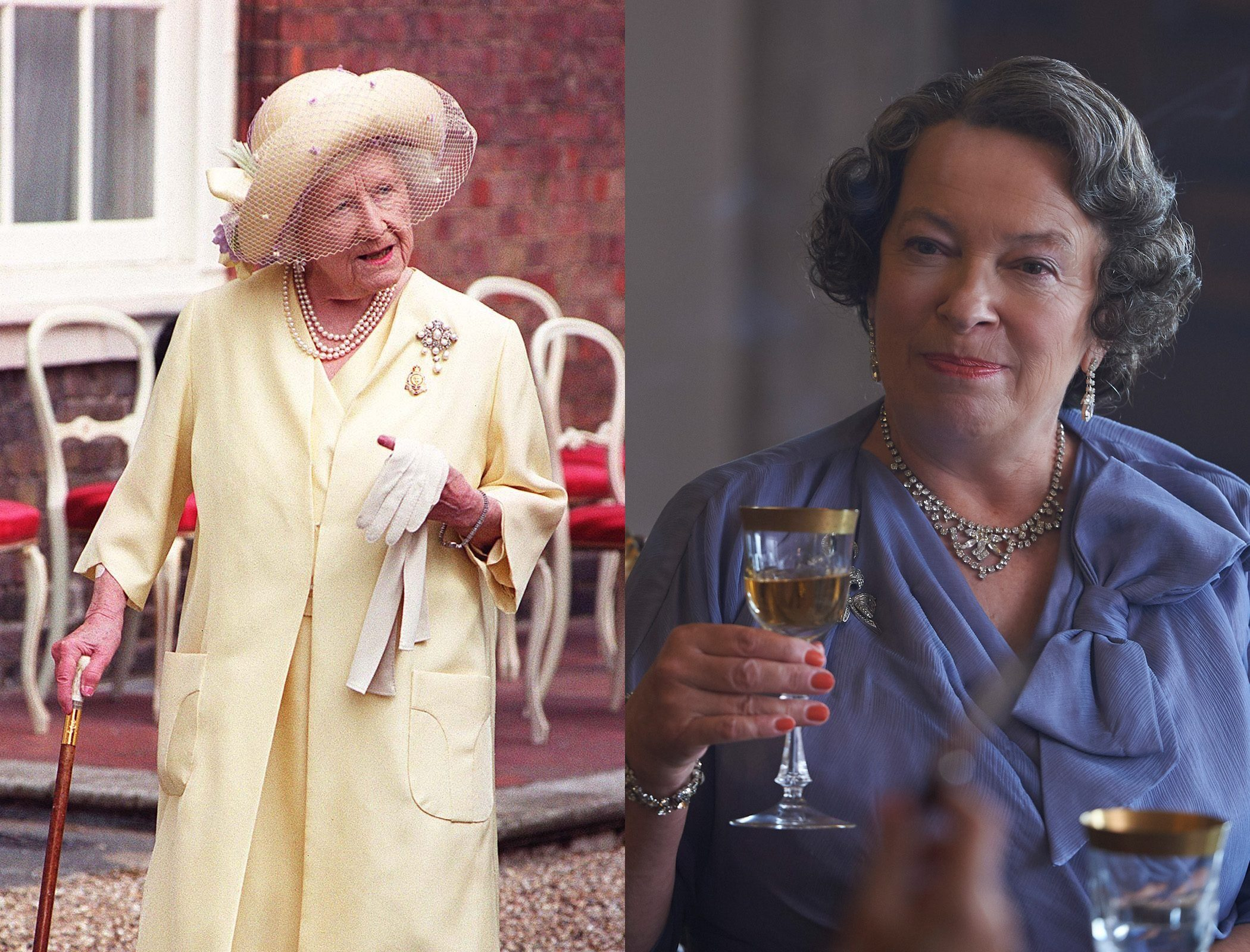 The Queen Mother, as played by Marion Bailey