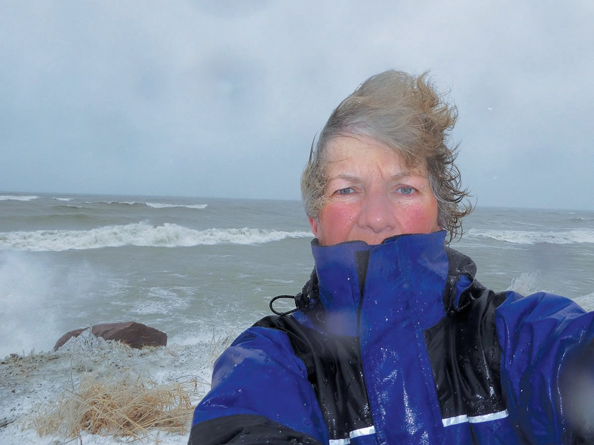 Cheryl Vousden at Scarborough Bluffs on a windy da