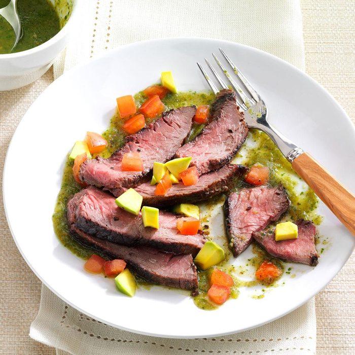Flank Steak With Cilantro Salsa Verde recipe