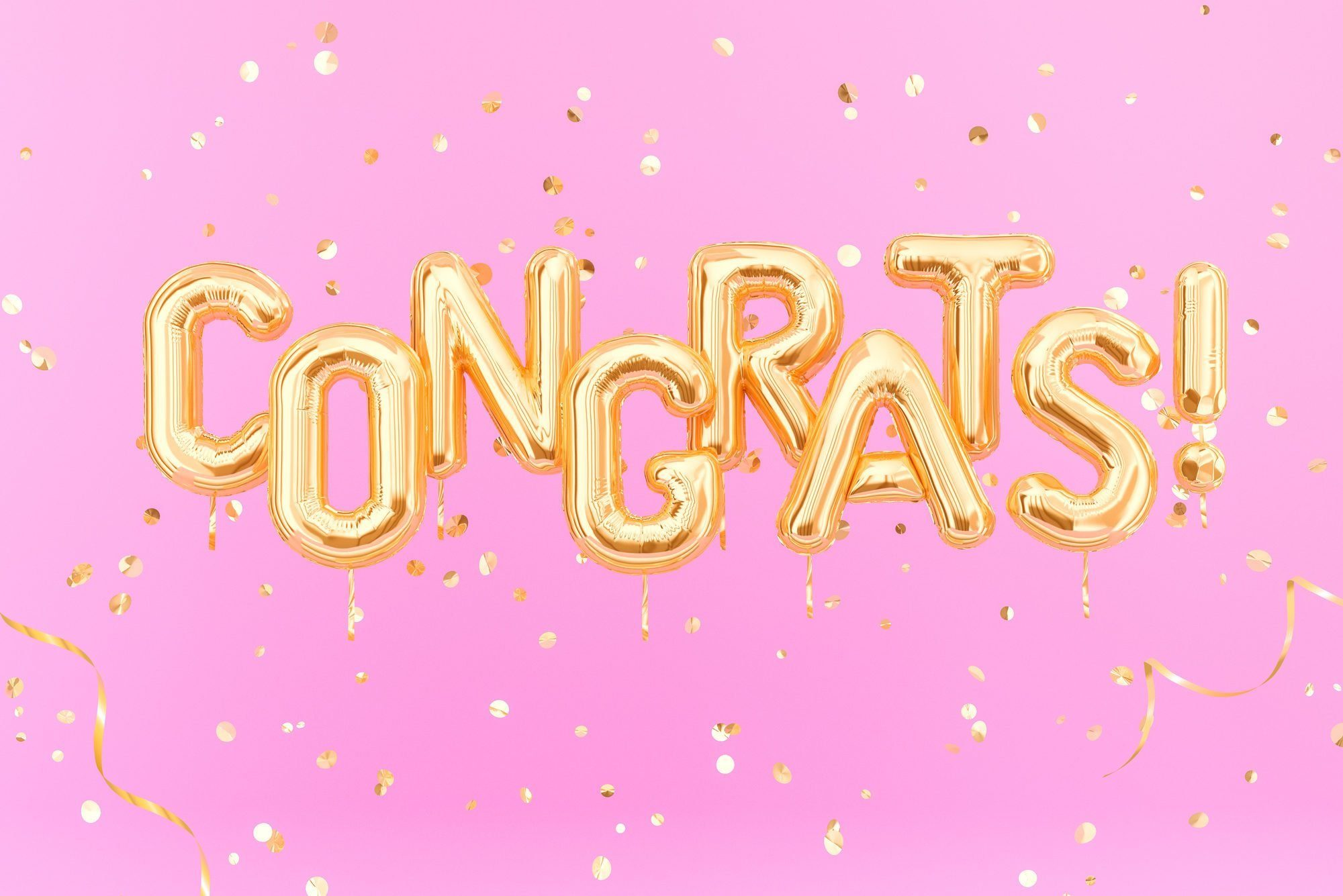 Congrats text with golden confetti. Congratulations banner