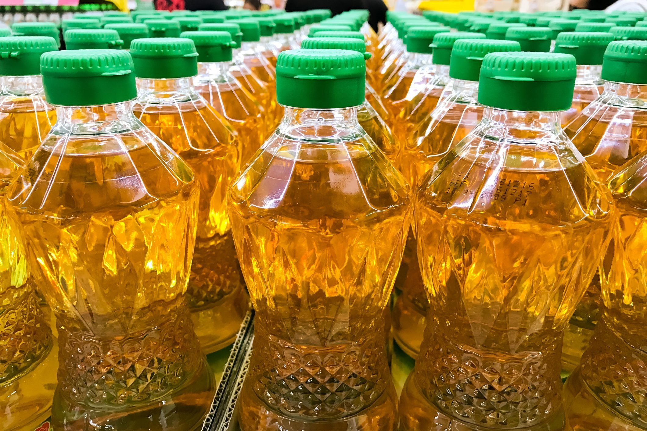 Closed up pile of bottled palm oil
