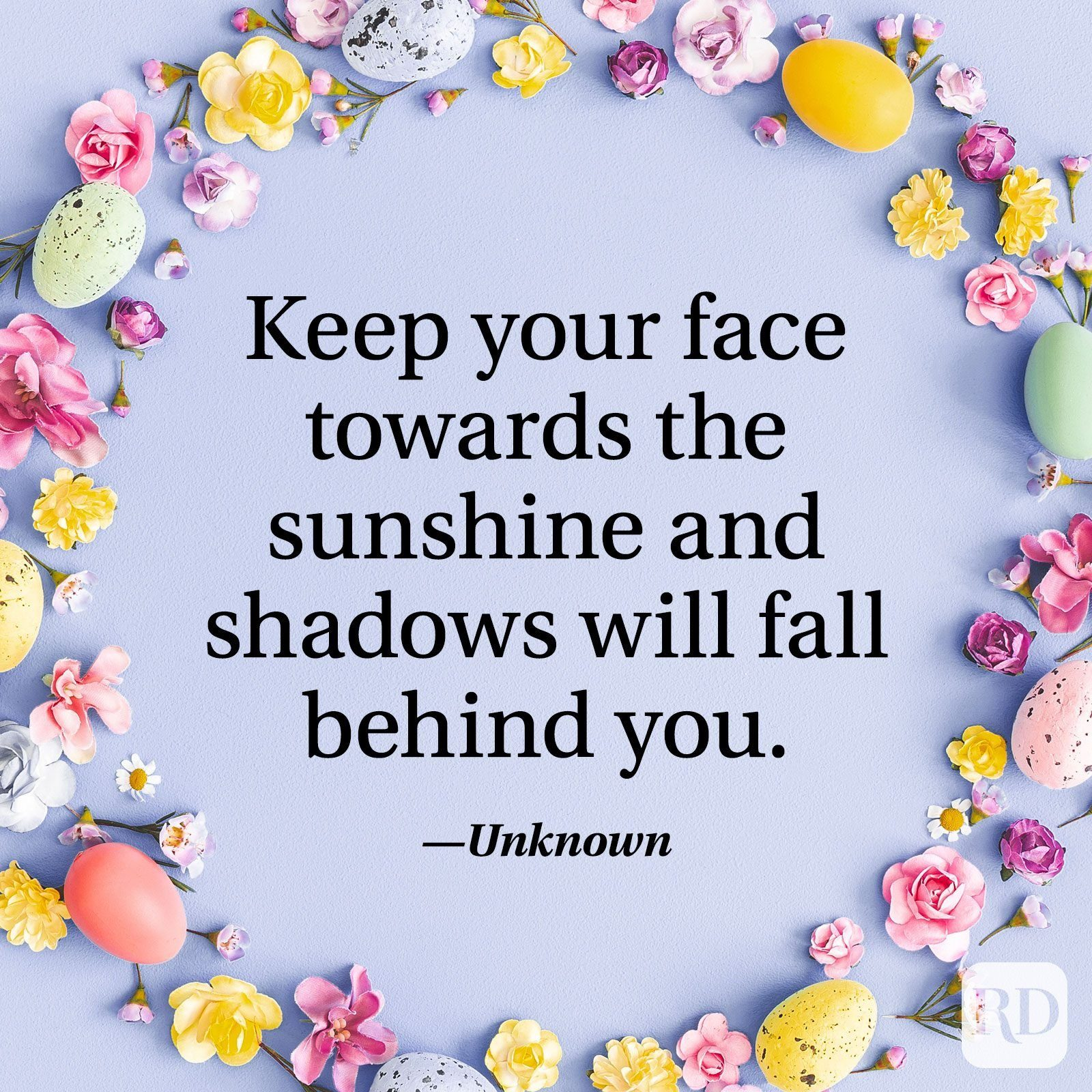 """""""Keep your face towards the sunshine and shadows will fall behind you."""" — Unknown"""
