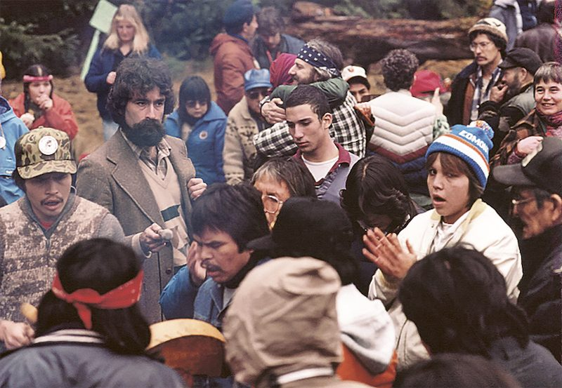 A group of forest blockaders