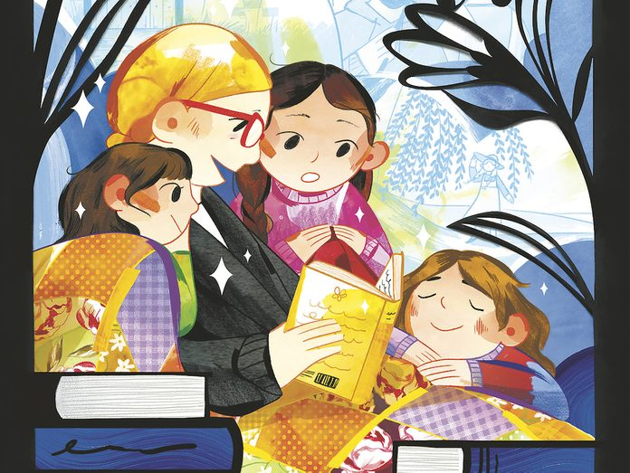 An illustration of a woman reading to her three daughters
