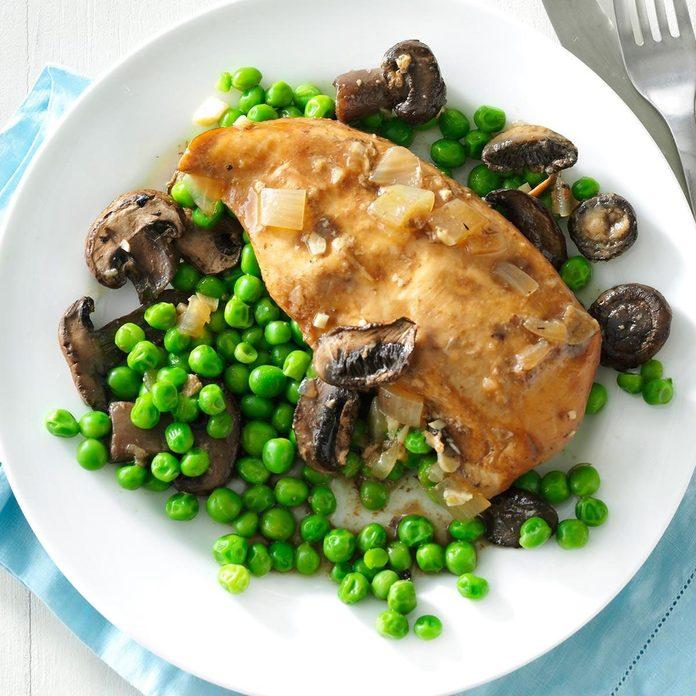 Slow-Cooker Mushroom Chicken & Peas