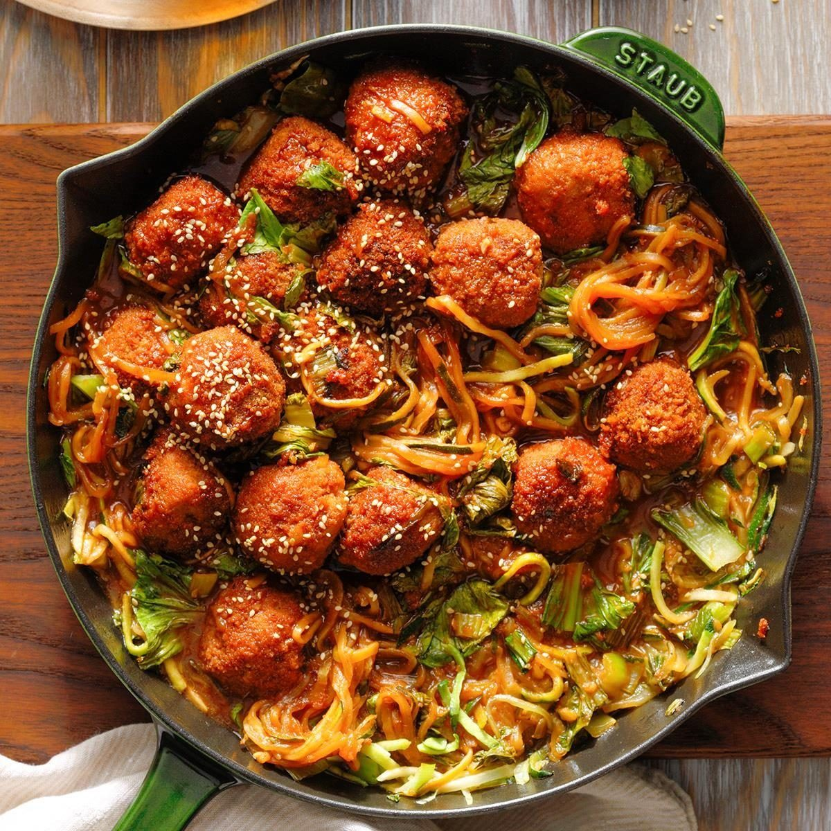 Spicy Plum Pork Meatballs With Bok Choy Exps Rc20 250860 B07 14 8b 7