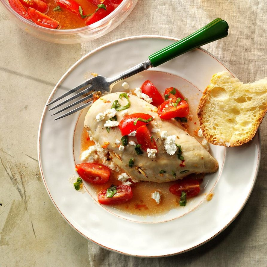 Stuffed Chicken With Marinated Tomatoes recipe