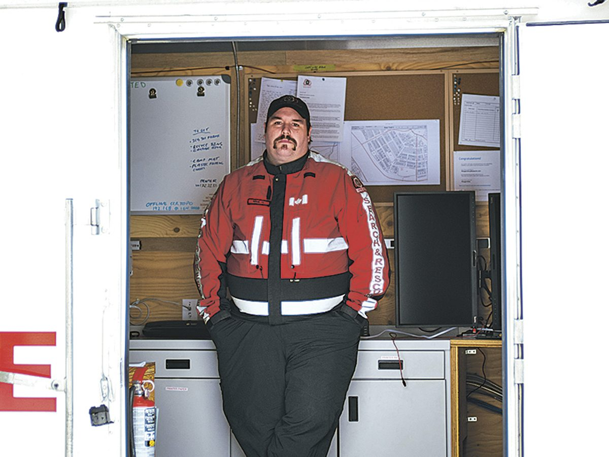 Mike Hudson in his rescue command centre